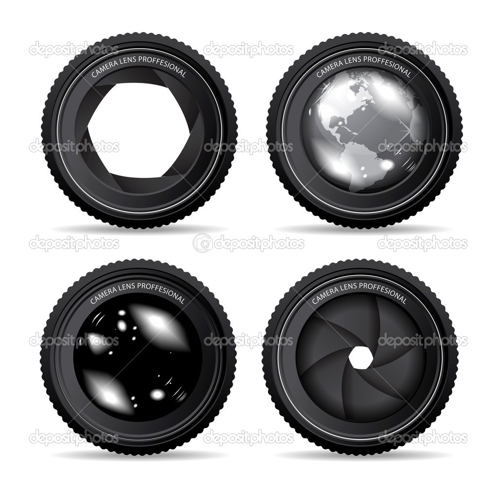 Vector illustration of camera lens on white — Stock Vector #4401969