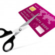 Scissors cutting credit card illustration on white - Stock Vector