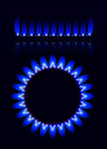 Natural gas flame isolated on black background — Stock Vector