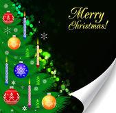 Рождественская елка Decorated.Over черный — Cтоковый вектор