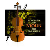 Violin with notes and bow — Stock Vector