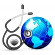 Stethoscope and blue earth vector illustration isolated on white background — Stock Vector