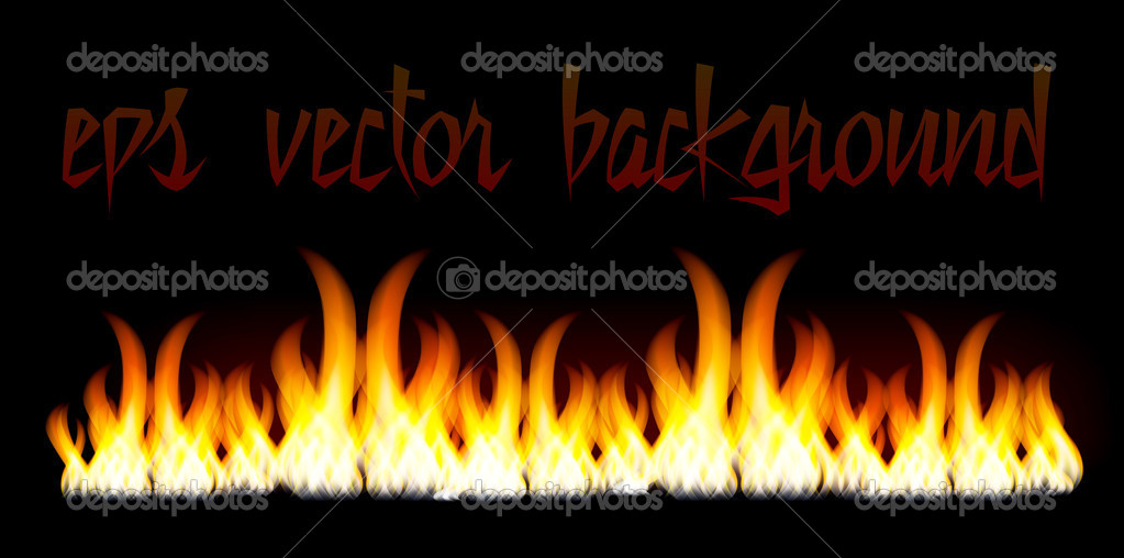 Burn flame fire vector background isolated on black background — Stock Vector #4837864