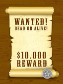 Poster Wanted dead or alive — Stock Vector