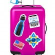 Red suitcase for travel with stickers — Stock Vector