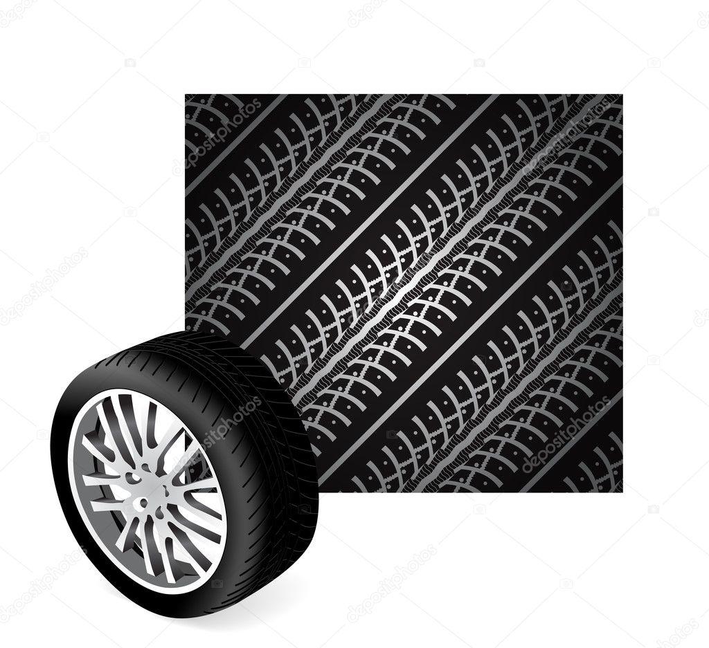 Muddy Tractor Clip Art : Tire track vector