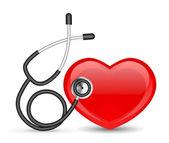 Estetoscopio y corazón — Vector de stock