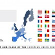 European Union Map and Flag — Stock Vector
