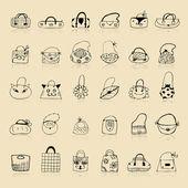 Kolekcja torebek, szkic, rysunek do projektowania — Wektor stockowy