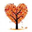 Beautiful autumn tree heart shape for your design — Vector de stock