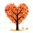 Beautiful autumn tree heart shape for your design - Векторная иллюстрация