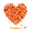I love autumn! Heart shape from falling leaves — Stock Vector
