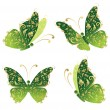 Green art butterfly flying, floral golden ornament — Stock vektor