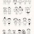 Happy big family smiling together, drawing sketch — Image vectorielle