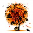 Halloween night party, concept tree for your design — Stock Vector