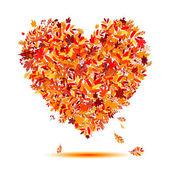 I love autumn! Heart shape from falling leaves — Stock Vector