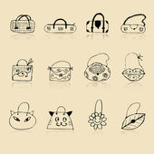 Collection of bags, sketch drawing for your design — Stockvektor