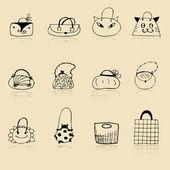 Collezione di borse, schizzo di disegno per il vostro disegno — Vettoriale Stock