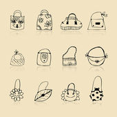 Collection of bags, sketch drawing for your design — Stock Vector