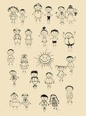 Szczęśliwą rodzinę dużych uśmiechający się razem, rysunek szkic — Wektor stockowy