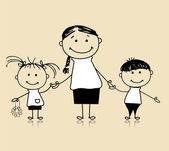 Rodzina szczęśliwy uśmiechający się razem, matka i dzieci, rysunek szkic — Wektor stockowy