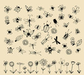 Insect sketch collection for your design — Wektor stockowy