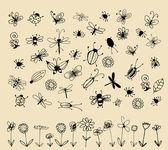 Kolekcja owadów szkic do projektowania — Wektor stockowy