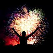 Firework streaks in night sky, celebration background — Stock Photo