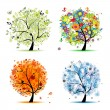 Four seasons - spring, summer, autumn, winter. Art tree beautiful for your - Stok Vektör