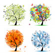 Four seasons - spring, summer, autumn, winter. Art tree beautiful for your - 图库矢量图片