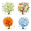 Four seasons - spring, summer, autumn, winter. Art tree beautiful for your — Stockvektor