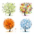 Four seasons - spring, summer, autumn, winter. Art tree beautiful for your — Imagen vectorial