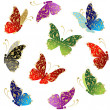 Royalty-Free Stock Imagen vectorial: Beautiful art butterfly flying, floral golden ornament