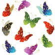 Royalty-Free Stock Vektorov obrzek: Beautiful art butterfly flying, floral golden ornament