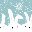 Rabbits on christmas winter background — Stock Vector #4186548