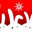 Royalty-Free Stock Vector Image: Funny rabbits on red christmas background