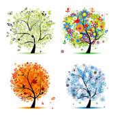 Fyra årstider - vår, sommar, höst, vinter. art-trädet vacker för din — Stockvektor