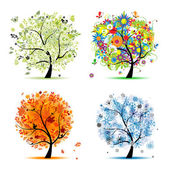 Quatre saisons - printemps, été, automne, hiver. arbre art beau pour votre — Vecteur