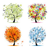 Four seasons - spring, summer, autumn, winter. Art tree beautiful for your — Stok Vektör