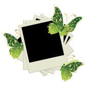 Pila de fotos, insertar tus fotos en cuadros, decoración de la mariposa — Vector de stock
