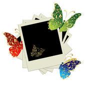 Pile de photos, insérer vos photos dans les cadres, décoration papillon — Vecteur