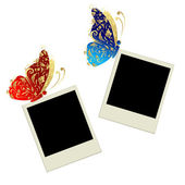 Two photo frames with butterfly decoration — Cтоковый вектор