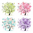 Set of floral trees beautiful for your design - Stok Vektör