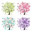 Set of floral trees beautiful for your design - Stockvectorbeeld