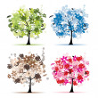 Set of floral trees beautiful for your design — Stock Vector #4392744
