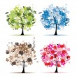 Stock Vector: Set of floral trees beautiful for your design