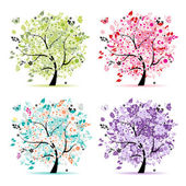 Set of floral trees beautiful for your design — Stock Vector