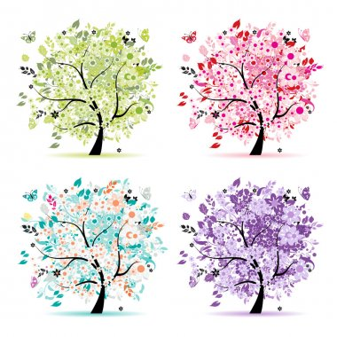 Set of floral trees beautiful for your design