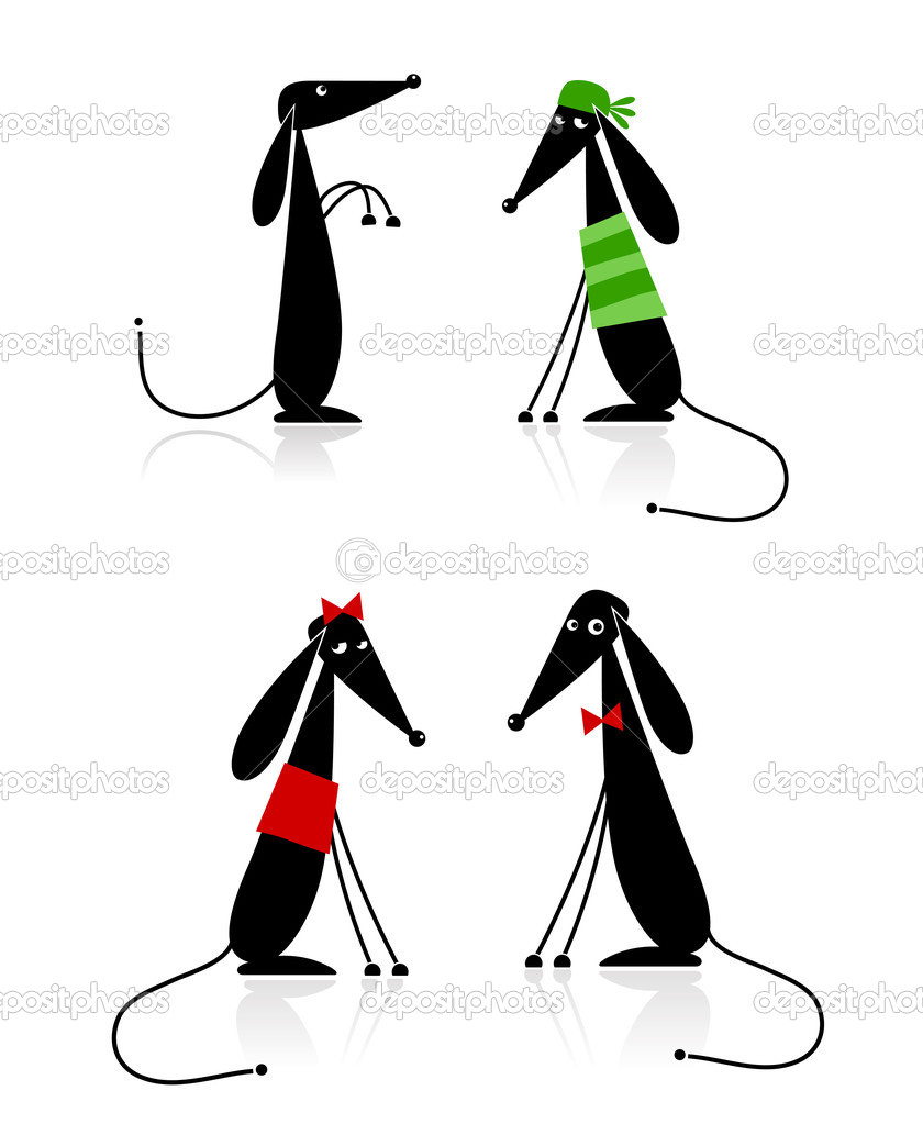 Funny black dogs silhouette, collection for your design — Stock Vector #4392775