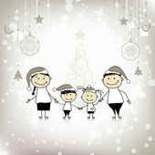 Happy family smiling together, christmas holiday — Stock Vector